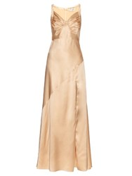 Saint Laurent Ruched Drape Silk Satin Gown Cream