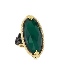 Armenta Elongated Oval Green Onyx And Black Diamond Ring Size 6