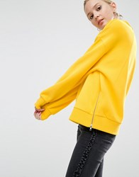 Asos Sweatshirt In Oversized Fit With Batwing Sleeve And Zip Detail Yellow