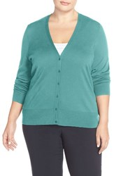 Sejour Plus Size Women's V Neck Cardigan Teal Britt