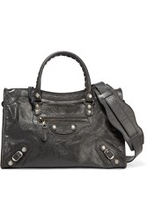 Balenciaga Giant 12 City Aj Textured Leather Shoulder Bag Gray