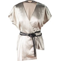 Leka Silver Metallic Short Sleeve Chiffon Blouse