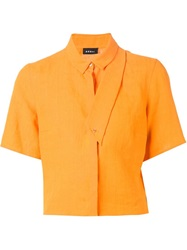Akris Cropped Short Sleeved Shirt Yellow And Orange