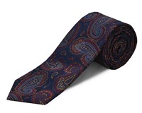 Double Two Polyester Paisley Tie Navy