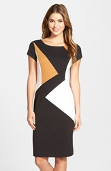 Ellen Tracy Colorblock Ponte Sheath Dress Black White