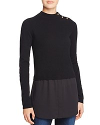 Aqua Cashmere Shirttail Sweater Black