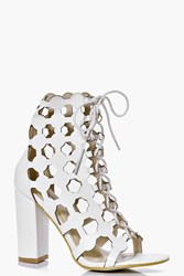 Boohoo Peeptoe Cut Work Shoe Boot White