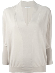Lamberto Losani Ribbed Hem V Neck Sweater