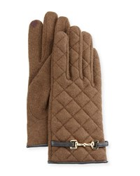 Portolano Wool Blend Quilted Gloves Brown Brown