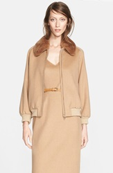 Max Mara 'Bergen' Camel Hair Jacket With Genuine Rabbit Fur Collar