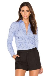Derek Lam Long Sleeve Button Down Twist Detail Shirt Blue