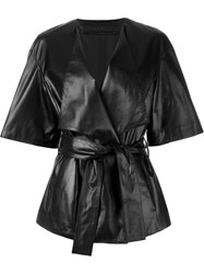 Drome Belted Leather Kimono Black