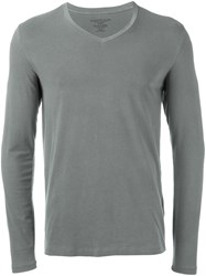 Majestic Filatures Longsleeved V Neck T Shirt Grey