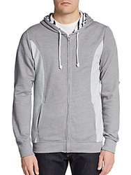 Saks Fifth Avenue Gray Colorblock Hoodie Charcoal