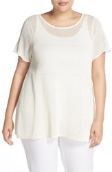 Plus Size Women's Eileen Fisher Linen Blend Knit Bateau Neck Tunic White