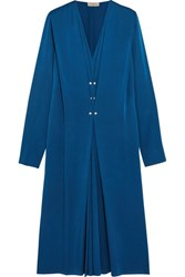 Lanvin Pleated Washed Satin Midi Dress Royal Blue