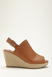 Forever 21 Faux Leather Wedge Espadrilles Chestnut