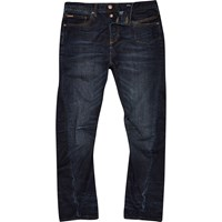 River Island Mens Dark Blue Wash Curtis Slouch Jeans