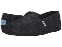 Toms Crochet Classics Black Crochet Glitter Women's Slip On Shoes