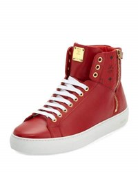 Mcm Collection Leather High Top Sneaker Brown