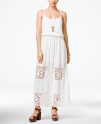 American Rag Juniors' Floral Illusion Sleeveless Maxi Dress Egret