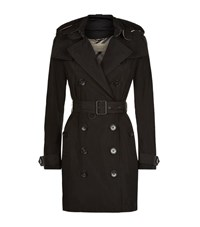 Burberry Balmoral Hooded Mid Length Trench Coat Female Black