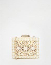 Aldo Box Clutch With Rhinestone Detail In Nude Nude Combo Beige