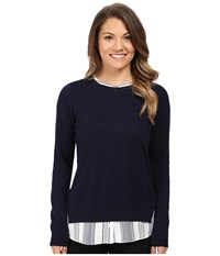 Nydj Petite Mixed Media Crew Neck Sweater Roman Holiday Stripe Women's Sweater Black