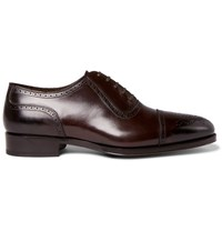 Tom Ford Austin Cap Toe Burnished Leather Oxford Brogues Dark Brown