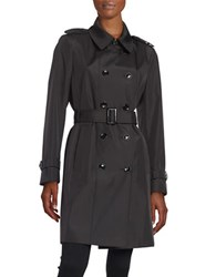 Calvin Klein Petite Button Front Trench Coat Black