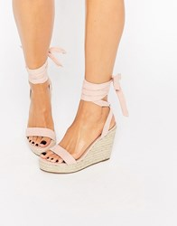 Asos Talent Tie Leg Wedge Sandals Apricot Pink