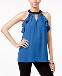 Ny Collection Contrast Ruffled Halter Blouse Evening Blue