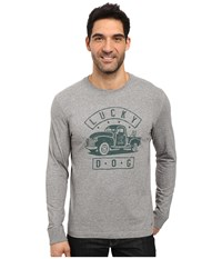 Life Is Good Lucky Dog Truck Crusher Long Sleeve Heather Gray Men's Long Sleeve Pullover