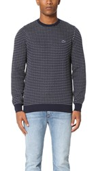 Lacoste Kinetic Intarsia Crew Neck Sweater Navy Blue