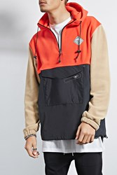 Forever 21 All Good Colorblock Anorak Black Red