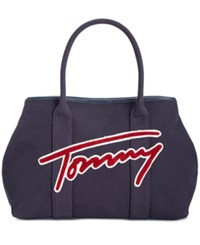 Tommy Hilfiger Aurora Embellished Canvas Tote Canvas W Terry Cloth Navy Red