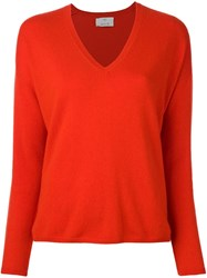 Allude V Neck Fine Knit Jumper Red