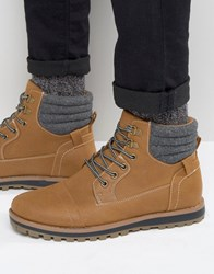 New Look Lace Up Worker Boots In Tan Tan