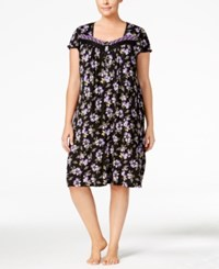 Charter Club Plus Size Embroidered Neck Nightgown Only At Macy's Black Botanical