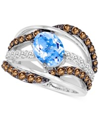 Le Vian Chocolatier Aquamarine 1 3 8 Ct. T.W. And Diamond 1 3 8 Ct. T.W. Wide Style Ring In 14K White Gold