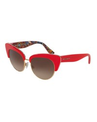 Dolce And Gabbana Dna Semi Rimless Cat Eye Sunglasses Red