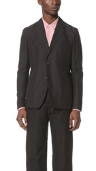 Our Legacy 2B Unconstructed Cotton Linen Blazer Black Washed
