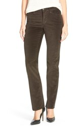Nydj 'Marilyn' Stretch Straight Leg Corduroy Pants Petite Brown