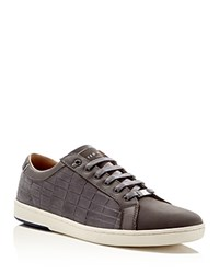Ted Baker Borgeo Croc Embossed Lace Up Sneakers Grey