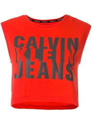 Calvin Klein Jeans Logo Print Cropped Top Red