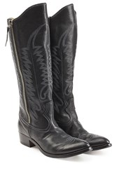 Golden Goose Leather Cowboy Boots Black