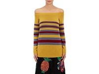 Valentino Women's Striped Cashmere Off The Shoulder Sweater Yellow