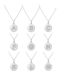 Kc Designs 14K White Gold Diamond Disc Initial Necklace I