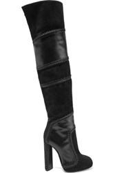 Tom Ford Suede And Leather Thigh Boots Black