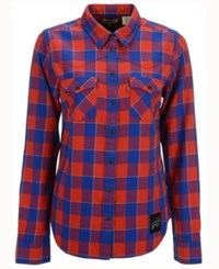 Levi's Women's Buffalo Bills Plaid Button Up Woven Shirt Red Blue